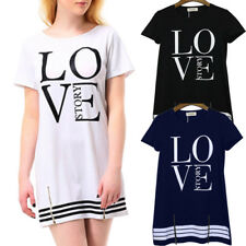 Women Sports Letter LOVE Printed Long T-shirt One-piece Ladies Dress Zipper Top