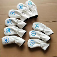 9x Embroidary Soft Leather Golf Iron Club Headcovers For Taylormade Callway Ping