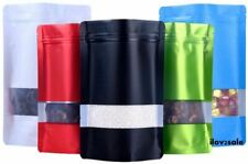 Resealable Aluminum Foil Zip Stand Up Bags Food Grade Pouches & Clear Window
