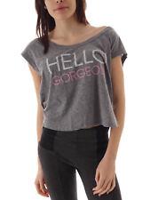 Local Celebrity Shirt Tee Hello Gorgeous grau Schriftzug ärmellos