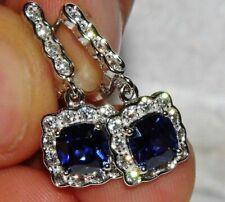 Sterling Silver (925) Tanzanite & Zircon Art Deco Style Dropper Earrings