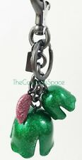 Coach Glitter Resin Tea Rose Bag Charm Key Ring F58514 Green Pink Silver