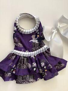 Handmade  Nightmare Before Christmas Theme Halloween Doggie Dress  Size Medium