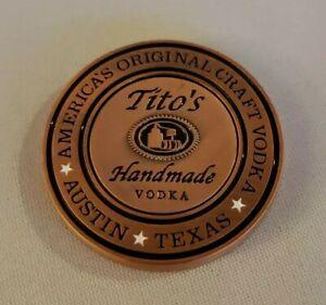 Tito's Handmade Vodka Copper Magnet Golf Ball Marker Coin Medallion w/ Tito tees