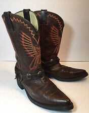 """DURANGO MENS 12"""" DB4245 HARNESS COWBOY WESTERN BOOTS BROWN LEATHER SIZE 9 1/2D"""