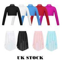 UK Girls Dance Long Sleeved Crop Tops Kids Ballet Jazz Gym Tutu Skirt Dancewear