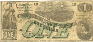 Confederate States $1 Dollar CR-342 Currency Banknote 1862