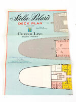 M S Stella Polaris Clipper Line Cruise Ship Deck Plan Brochure Sweden Map 1965