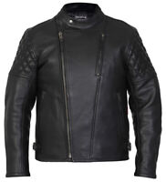 Leather Motorcycle Motorbike Jacket Biker Black CE Armoured Diamond - Skintan