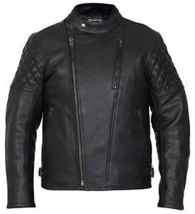 Leather Motorcycle Motorbike Jacket Biker Black CE Armoured Diamond - Skintan