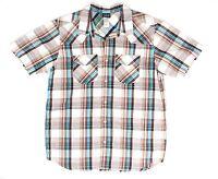 Patagonia Short Sleeve Organic Cotton Blend Brown Plaids Casual Shirt Large