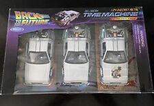 Back To The Future 1, 2, 3 Trilogy Delorean Time Machine 1/24 Die-cast Car Set