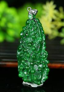 Cert'd Untreated Green Nature Grade A Jadeite Jade Pendant cabbage a23501362