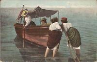 Women Boating - 1908 - flag