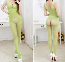 BRIGHT GREEN Fishnet Bodystocking Open Crotch 8 10 12 14 Valentines Crotchless