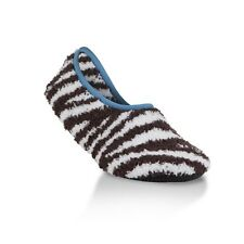 WORLDS SOFTEST Cozy Womens SLIPPERS Brown Zebra - Small 5.5 - 7 - BRAND NEW