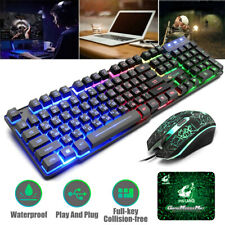 T5 LED Backlit Mechanical Gaming Keyboard USB Game Mouse Pad Set For PC PS4