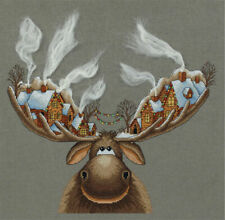 Panna Counted Cross Stitch Embroidery Kit 16ct 28 X 33 Cm Christmas Moose