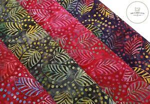 "Bali Indonesian Batik, Large Leaves Print, 4 Colours, 100% Premium Cotton, 44"""