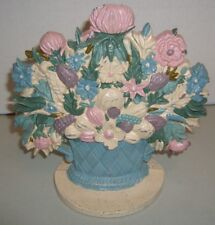 """Midwest Importers of Cannon Falls Cast Iron """"Pastel Basket Of Flowers"""" Doorstop"""
