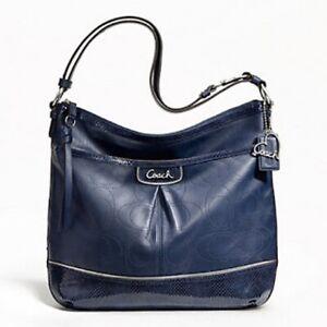 Authentic Coach Park Elevated Leather Duffle Denim Bag F19739 Blue