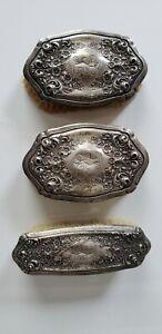 Antique Vintage Sterling Silver .527 Brush Set of 3
