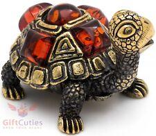 Solid Brass Amber Figurine Tortoise Turtle in amber shell talisman IronWork