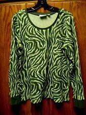 Denim & Co. Long Sleeve Scoop Neck Animal Print Thermal T-shirt Sz L Olive NWOT