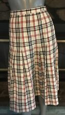 Vintage 80's Ivory Red Black Plaid Pleated Skirt by Country Sophisticates Size L
