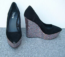 Fiore Black Faux Suede Court Shoes with Multi-Coloured Glitter Wedge Heel Size 5