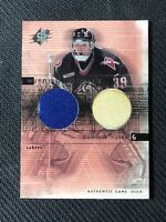 2000-01 UD SPX DOMINIK HASEK WINNING MATERIALS GAME-USED JERSEY STICK #DH