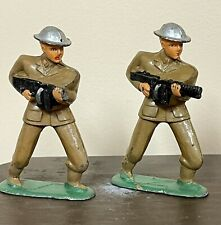 LOT OF 2 VINTAGE BARCLAY MANOIL INVADING LEAD TOY SOLDIERS CHARGING MACHINE GUNS