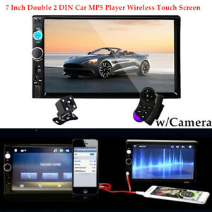 7'' 1080P 2 DIN Car MP5 Player Wireless Touch Screen Stereo Radio w/Camera Kit