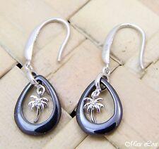 925 Silver Rhodium Hawaiian Palm Tree Black Ceramic Tear Drop Hook Earrings