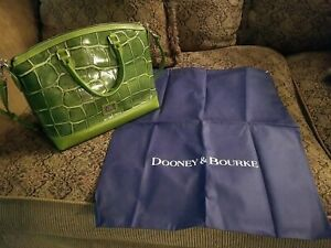 NEW Dooney & Bourke Green Leather Croc Print Satchel Handbag Dustbag Silver Logo