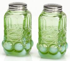 Salt & Pepper Shaker Set - Eyewinker - Green Opalescent Glass - Mosser USA