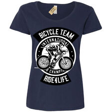 Bicycle Team T-Shirt Ride for life Womens Ladies Scoop