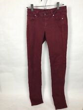 PAIGE PEG Skinny Women's Jeans Maroon Wine Burgundy Red 28 x 31