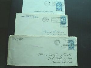 THREE COVERS WITH 735a STAMPS.  BYRD ANTARCTIC EXPEDITIN.