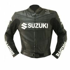BLACK RGSX SUZUKI RACING MOTORBIKE  LEATHER JACKET CE APPROVED