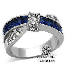 Women's Ring Wedding Blue Princess & Round Cut Stainless Steel Size 6
