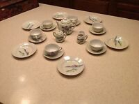 Vintage Childs Toy Tea Set Porcelain Made in Japan comes with original wood box