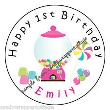 """Candy Land Birthday PARTY Personalized 2.5"""" Round Labels Favors Sticker Loot Bag"""