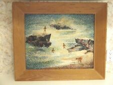 Original Impasto Oil Painting on Masonite Signed Driftwood Frame 1957
