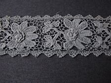 ANTIQUE IRISH CROCHET FLOWERS & LEAVES LACE TRIM EDGING  18 IN LONG & 2 1/2 IN w