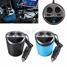 Car Cup Holder Charger Power Cigarette Lighter Socket Dual USB Adapter 3.1A 12V
