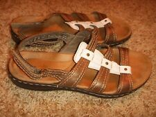 Clarks Leisa Lucia Bronze White Slingback Sandals 15260 Womens Size 6