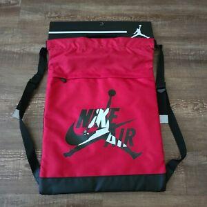 Jordan Drawstring Bag For Shoes Backback Black Nike Gym Bag Red Black