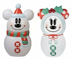 Disney Blow Mold Lighted Snowman Mickey & Minnie Mouse Christmas 23'' Tall 2021