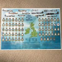 Battle of Britain Royal Air Force RAF Squadron Badges Planes Airfields A1 Poster